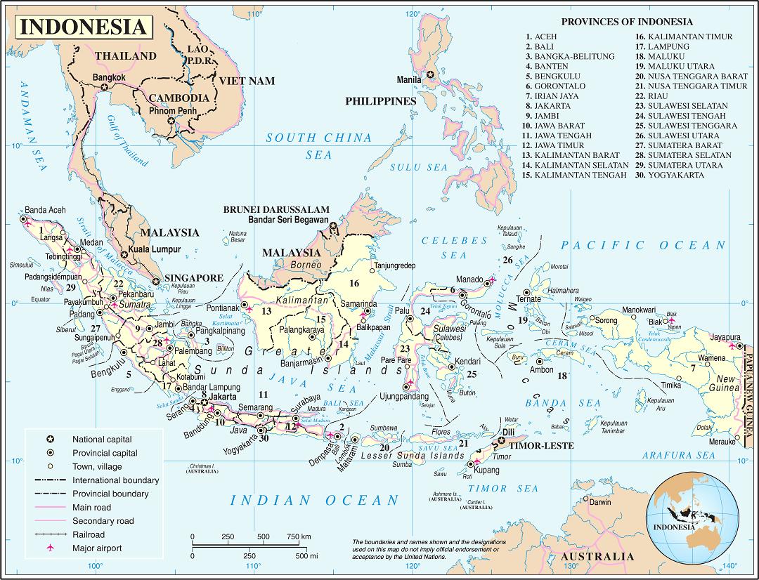 Klik op de afbeelding voor een grotere kaart van Indonesië.