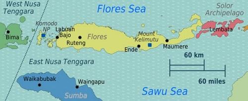 Kaart Flores en Komodo National Park - Indonesië